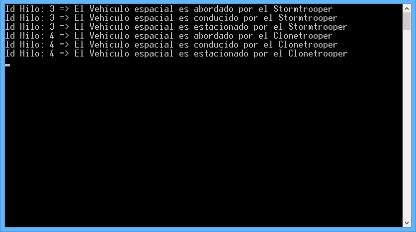 Resultado de ejecución, Acceso a recurso compartido con bloqueo