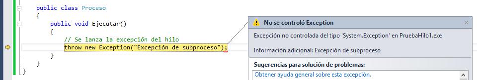 Resultado de ejecución, Excepción en hilo controlada desde programa principal